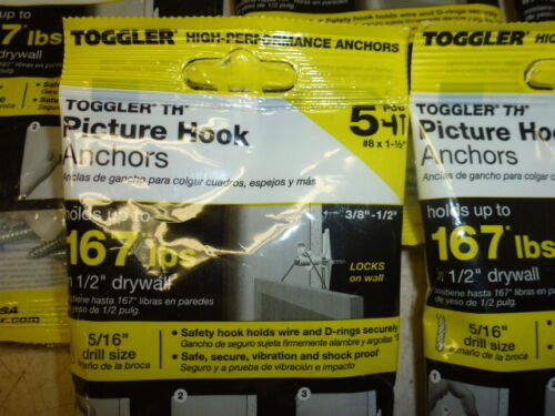 """Lot of PICTURE HOOK ANCHOR 3//8/""""-1//2/"""" DRYWALL #8 X 1-1//2/"""" TOGGLER 50225 5"""