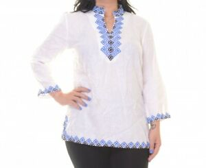 Charter-Club-Women-039-s-Split-Neck-3-4-Sleeve-Blouse-NWD-Size-L