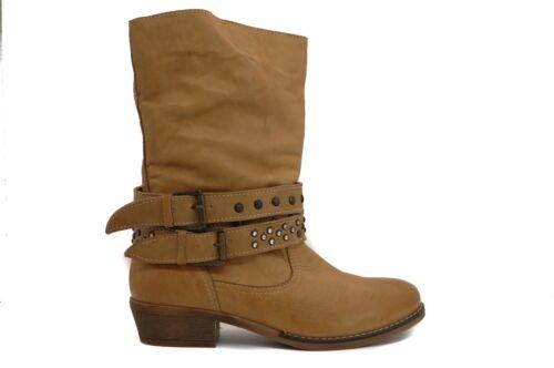 Pegia Ladies/' Classic Americano Tan Leather Chic Urban Cowboy Biker Boots