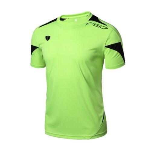 Men/'s Short Sleeve Sports Running Workout T-Shirt Quick Dry Gym Wear Tops UK