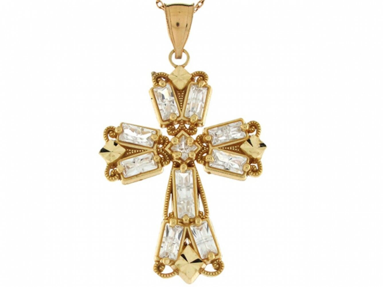 10k or 14k Yellow gold White CZ Accents Orthodox Fancy Cross 4.0cm Pendant