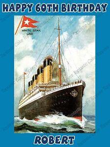 Image Is Loading Personalised Vintage RMS Titanic Ship Ocean Liner Edible