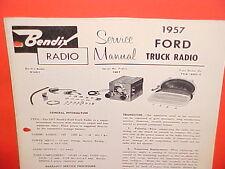 1957 1958 FORD PICKUP TRUCK F-100 250 350 STAKE BENDIX AM RADIO SERVICE MANUAL