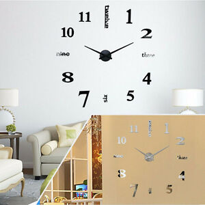 diy 3d horloge murale maison moderne miroir montre salon chambre d cor design ebay. Black Bedroom Furniture Sets. Home Design Ideas