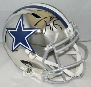 reputable site ee431 d5920 Details about TONY ROMO AUTOGRAPHED SIGNED DALLAS COWBOYS CHROME FULL SIZE  SPEED HELMET JSA