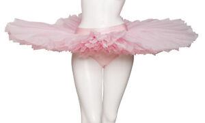 FILLES-FEMMES-rose-pale-Dance-Ballet-entrainement-crepe-Plateau-JUPE-TUTU