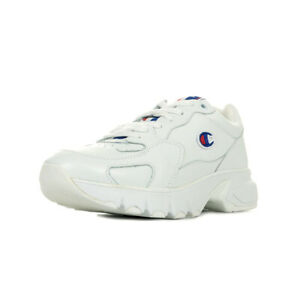 Blanche femme taille Blanc sur Lacets Leather Chaussures CWA Détails Cuir Champion Baskets 1 HYe9WED2I