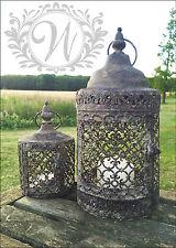 Conjunto de 2 Vintage morisco Linterna Sostenedor De Vela Jardín Antiguo Luz de té marroquí