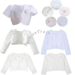 Girls-Kids-Beaded-Bolero-Shrug-Jacket-Flower-Bridesmaid-Wedding-Short-Cardigan
