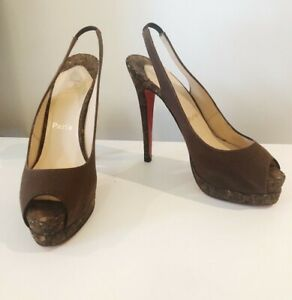 b1c37d51ebd5 Image is loading Authentic-CHRISTIAN-LOUBOUTIN-039-Catenita-039-brown-cork-