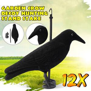 12x-Garden-Flocked-Hard-Plastic-Flambeau-jet-black-Crow-Decoy-For-Hunting-Stand