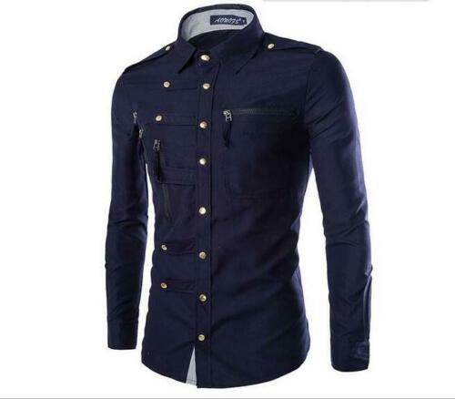 Fashion Men/'s Shirts Slim Fit Long Sleeve Casual Dress Shirts New T-Shirts Tops