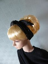 Black Velour Hair Scarf, Retro Vintage 50's Style hair wrap, fifties headband