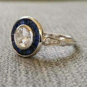 Edwardian-Antique-2-57-Ct-Diamond-amp-Sapphire-Engagement-Ring-14k-White-Gold-Over