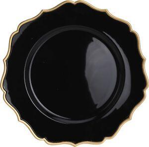 Set-of-4-Black-With-Gold-Edging-Charger-Plates-Under-Plates-33cm-Elegant-Range