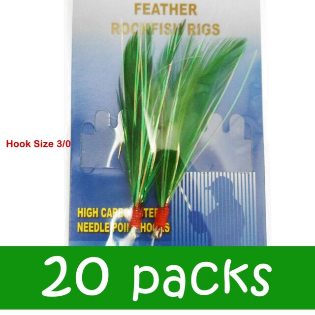 3-100 Packs size 3//0 rock cod feather rigs 2 hooks green rockfish bait