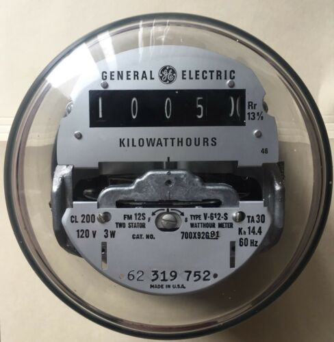 GE WATTHOUR KWH METER NETWORK 5 LUGS EZ READ, 2 STATOR V-612-S FORM 12S