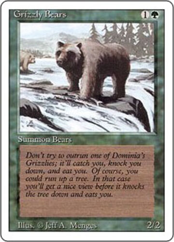 MTG Revised Edition Magic the Gathering - Grizzly Bears 1994