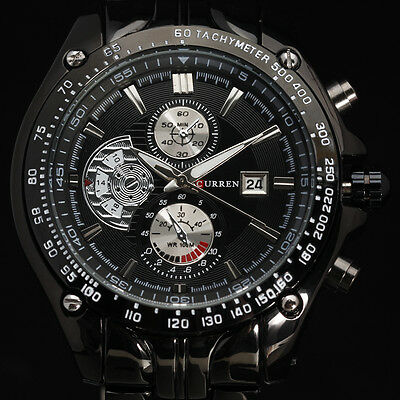 SUPER LUXURY SPORT MEN Quartz Wrist Watch Calendar STAINLESS STEEL STRAP CLASSIC