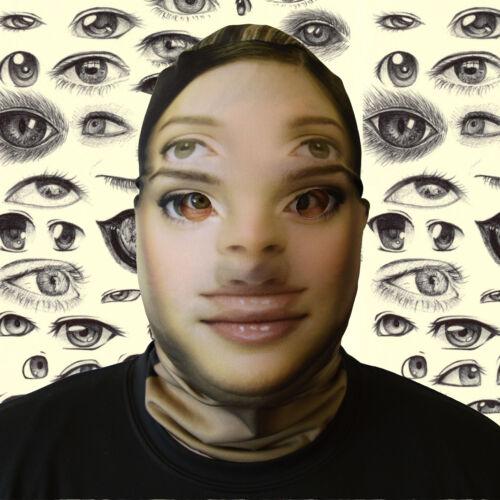 3D EFFECT DOUBLE VISION DESIGN FACE SKIN LYCRA FACE MASK HALLOWEEN L/&S PRINTS