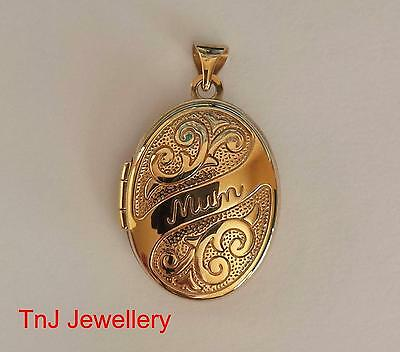 "NEW Genuine Solid  9ct 9k Yellow Gold ""Mum"" Scroll Embossed Locket Mother"
