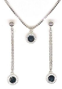 Solid-925-Sterling-Silver-CZ-Necklace-Pendant-Long-Earrings-Set-Round-Black-Onyx