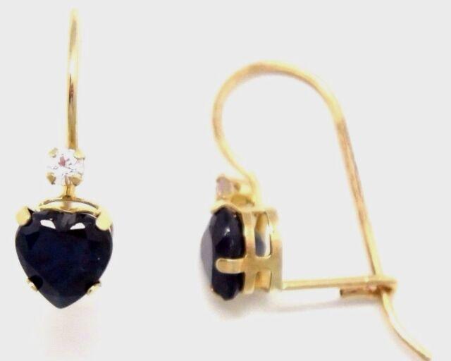 Ohrringe  SAPHIR HERZ Saphire 1.6 ct  10 K Gelb Gold
