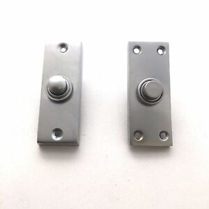 27mm x 78mm Solid Satin Nickel Victorian Door Bell Chime Push Button Press