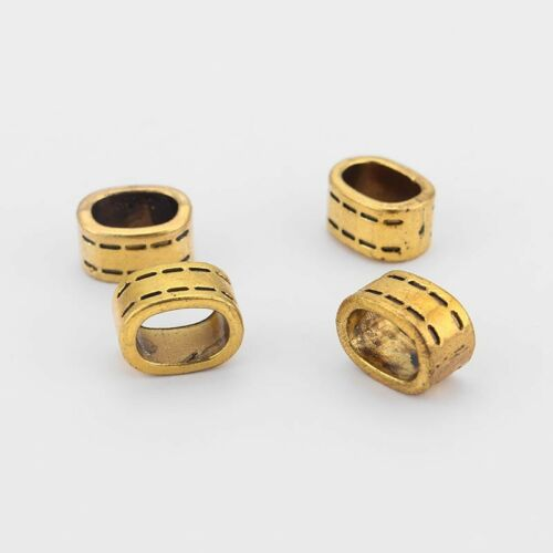 10Pcs Silver//Copper//Gold 11x7.5mm Sliders Spacer Beads Licorice Leather Findings
