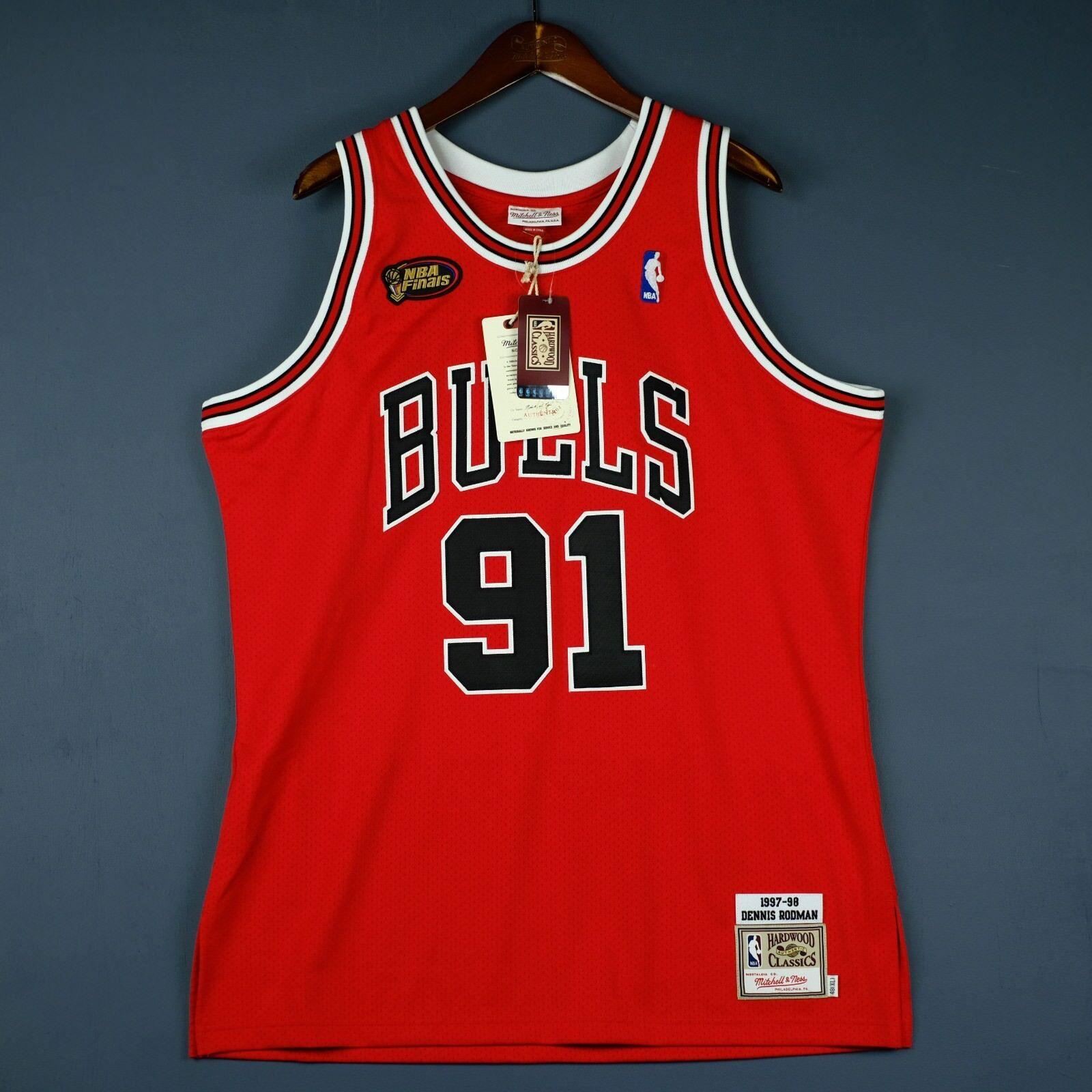100% Authentisch Authentisch Authentisch Dennis Rodman Mitchell & Ness 98 Finals Trikot Größe 48 XL 642da3