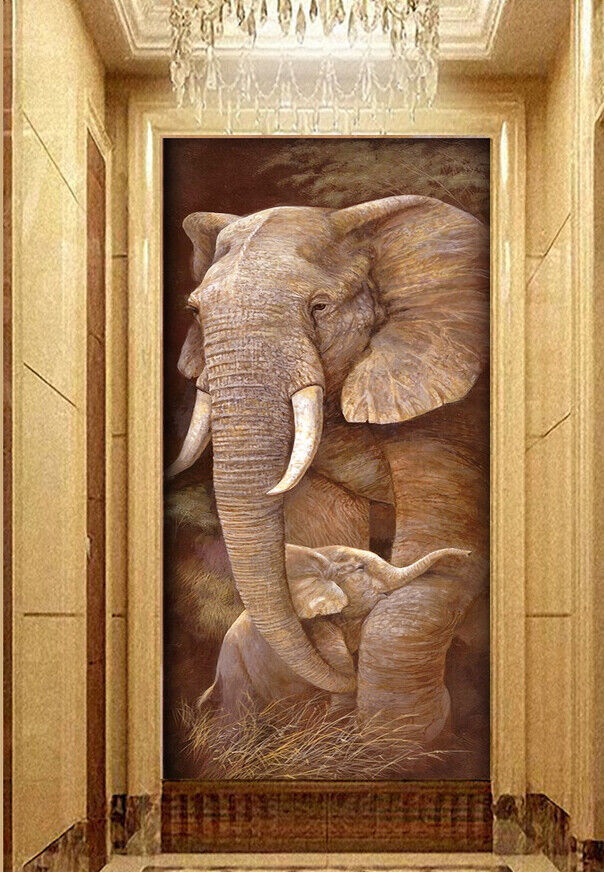 3D Elephant I566 Wallpaper Mural Sefl-adhesive Removable Sticker Kid Wendy