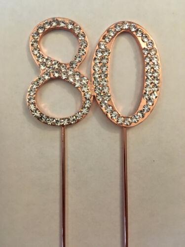 Or Rose 80TH ANNIVERSAIRE strass gâteau topper décoration 80 ème quatre-vingt quatre-vingtième