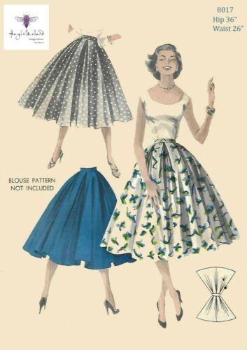 "Vintage 1950/'s Sewing Pattern Rockabilly Full Circle Skirt Waist 26/"" Hip 36/"""