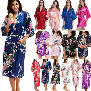 Women Short Long Satin Kimono Robe Wedding Bridal Bridesmaid Night ... a39cc6335