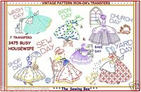 Crinoline Busy Housewife Embroidery Transfer Sunbonnet Tea Towels Ladies 3475