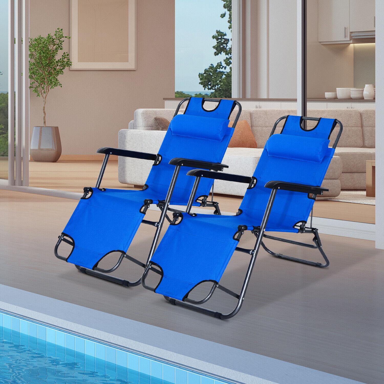 Set de 2 Tumbona Plegable Inclinable Silla Hamaca Playa Piscina Jardín Azul