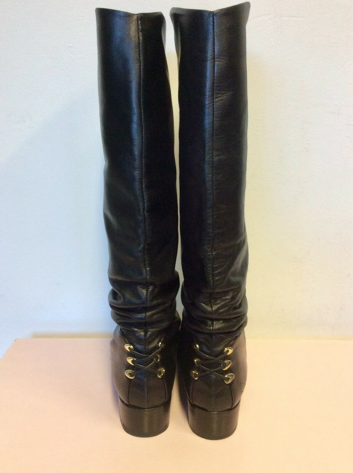 ROLAND CARTIER BLACK BLACK BLACK LEATHER LACE UP HEEL KNEE HIGH BOOTS SIZE 6 39 a655aa