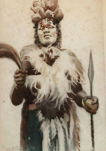 Hubert-Whatley-watercolor-African-ceremony-signed-amp-inscribed-to-Aleko-Lilius