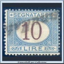 1874 Italia Regno Segnatasse Cifra in ovale L. 10 azzurro e bruno n. 14 Usato