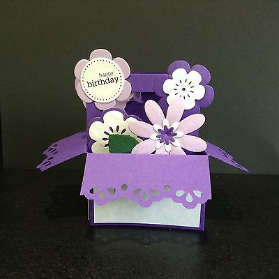 Handmade card  Pop up card flowers in a Basket design - can be personalised