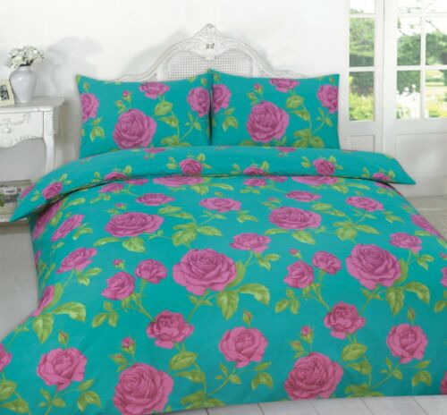 Duvet Quilt Cover Meadow Floral Print Grey Teal Black with Matching Pillowcases