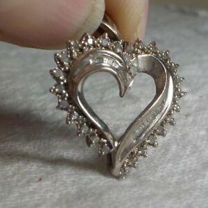 Sterling silver rhinestonecz heart pendant signed f inside star image is loading sterling silver amp rhinestone cz heart pendant signed mozeypictures Gallery