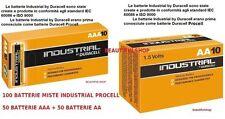 100 BATTERIE DURACELL ALCALINE INDUSTRIAL 50 MINI STILO PILE AAA + 50 STILO AA