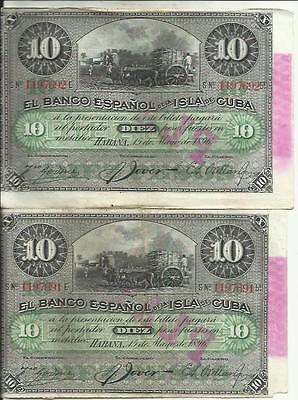 SPAIN COLONIAL LOT 5x 1 PESO 1896 CONDITION AS SCAN ORIGINAL.