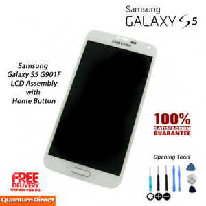 NEW-Samsung-Galaxy-S5-SM-G901F-LCD-amp-Digitiser-Assembly-with-Home-Button-WHITE