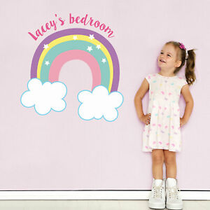 Personalised Rainbow And Clouds Wall Sticker Girls Room Décor Wall Decals Ebay