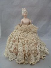 """Antique Porcelain Half Doll Girl Pin Cushion. #13911. Made in Germany. 9.25"""" T"""
