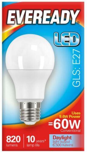 EVEREADY E27 Edison Screw ES LED GLS Lamps Daylight 6000k Warm White 3000k Opal
