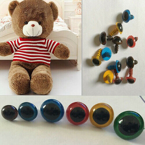 100PCS Brown Plastic Safety Eyes Craft Eyes for Sewing Crafting Buttons Teddy Bear Doll Stuffed Animals Puppet Doll Making DIY Crafts Toy Accessories Size 12MM