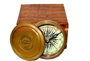 Maritime Compasses Poem Compass Robert Frost Poem Compass Brass Compass With Wood Box Gift Item